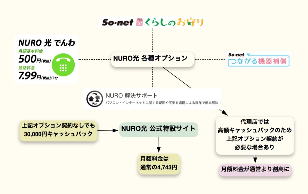 オプション「NURO光 公式特設サイト」では必要なし
