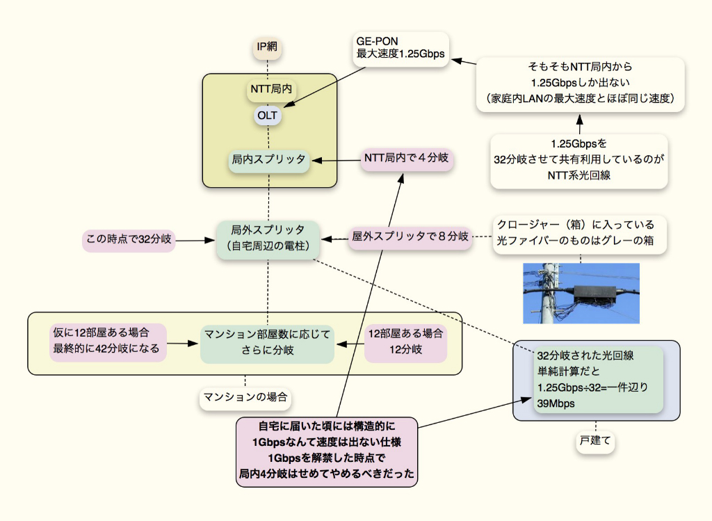 NTT系光回線 分岐数図解