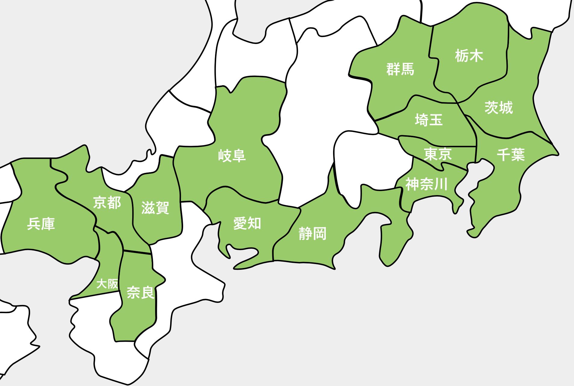 2018年NURO光提供エリア(関東・東海・関西)
