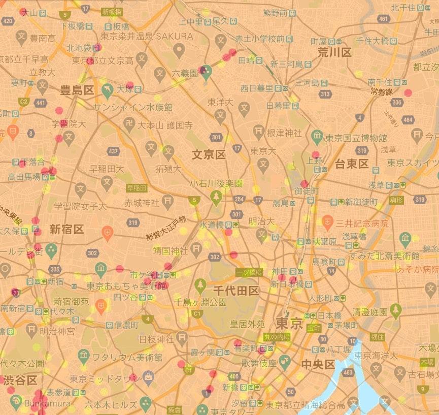 au 5Gのエリアマップ(東京都内)