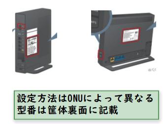 ONUの型番は筐体裏面に記載されている